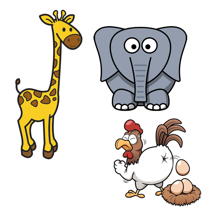 La giraffa, l'elefante e la gallina