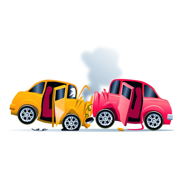 Un uomo e una donna in un incidente d'auto